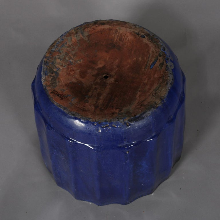 Pair of Monumental Cobalt Glazed Terracotta Pottery Jardinières, 20th Century For Sale 7