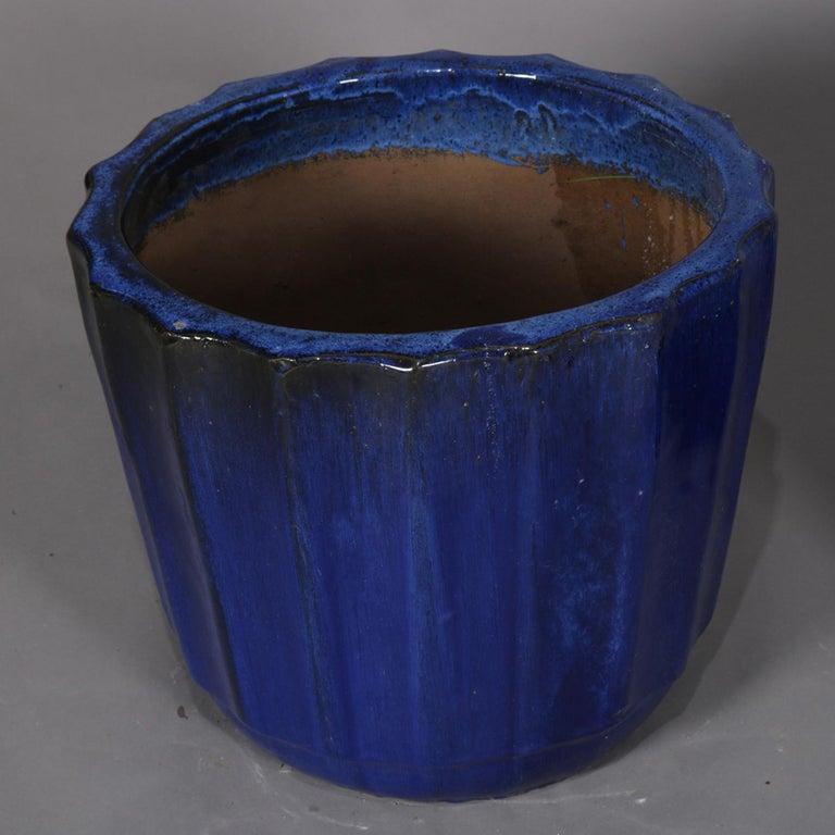 Pair of Monumental Cobalt Glazed Terracotta Pottery Jardinières, 20th Century For Sale 8