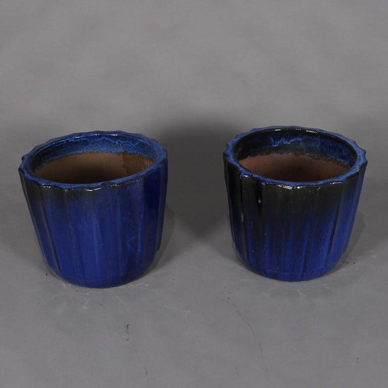 American Pair of Monumental Cobalt Glazed Terracotta Pottery Jardinières, 20th Century For Sale