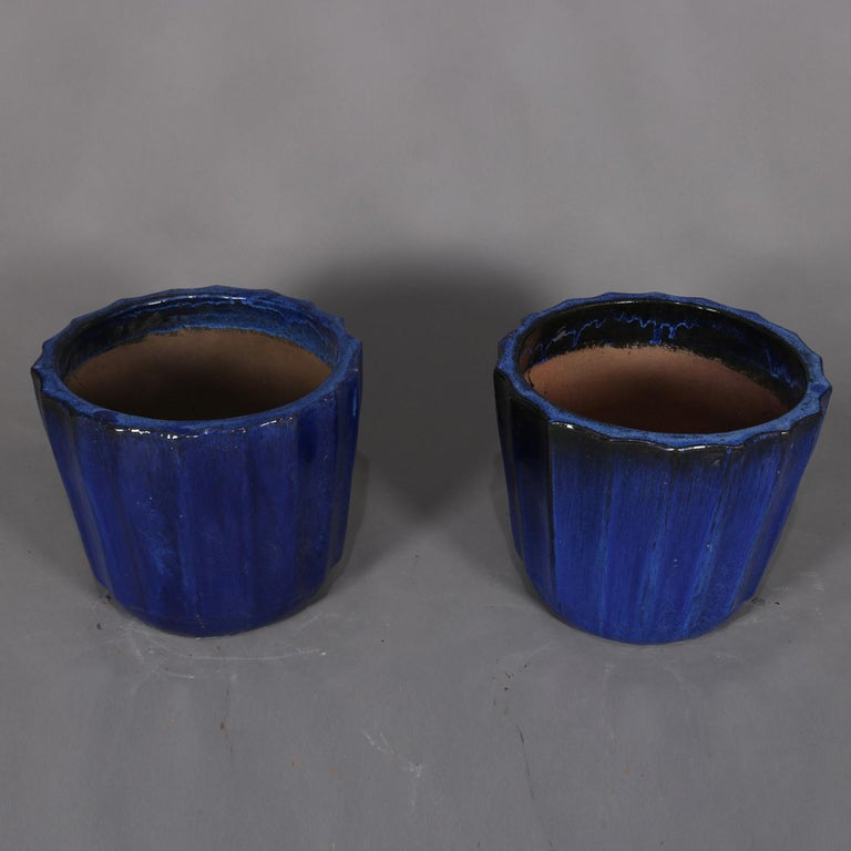 Pair of Monumental Cobalt Glazed Terracotta Pottery Jardinières, 20th Century In Good Condition For Sale In Big Flats, NY