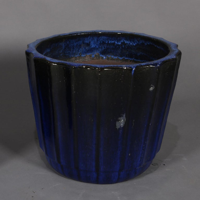 Ceramic Pair of Monumental Cobalt Glazed Terracotta Pottery Jardinières, 20th Century For Sale