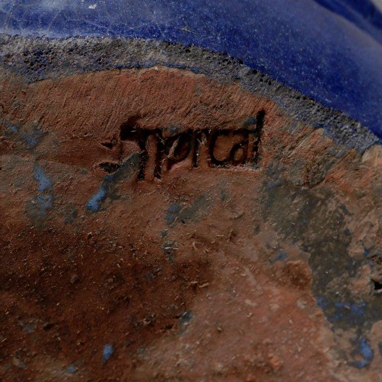 Pair of Monumental Cobalt Glazed Terracotta Pottery Jardinières, 20th Century For Sale 1