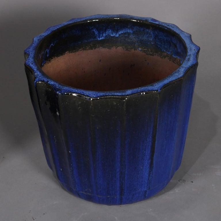 Pair of Monumental Cobalt Glazed Terracotta Pottery Jardinières, 20th Century For Sale 2