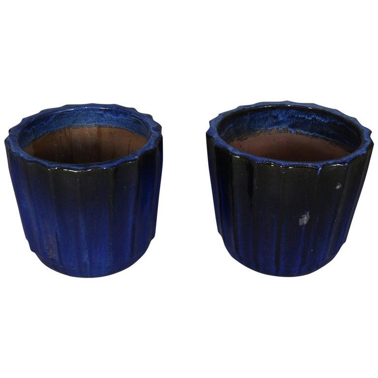 Pair of Monumental Cobalt Glazed Terracotta Pottery Jardinières, 20th Century For Sale