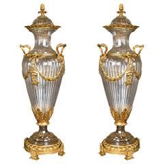 Pair of Monumental Crystal Vases