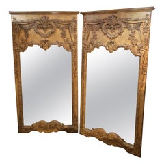 Pair of Monumental Custom Carved Wall Console or Standing Floor Mirrors