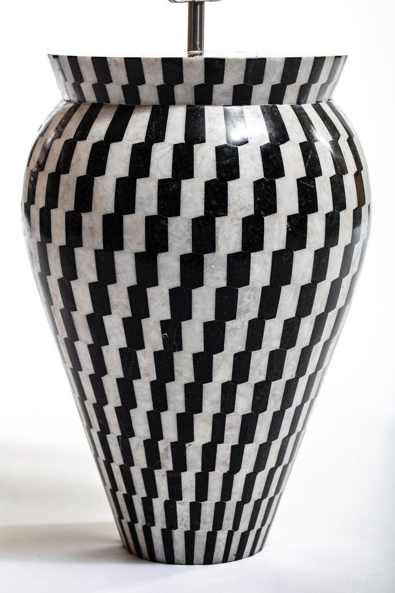 Pair of Monumental Custom Kelly Wearstler Lamps in Marble & Onyx For Sale 3