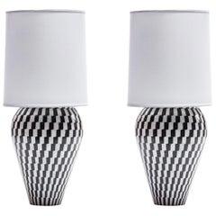 Pair of Monumental Custom Kelly Wearstler Lamps in Marble & Onyx