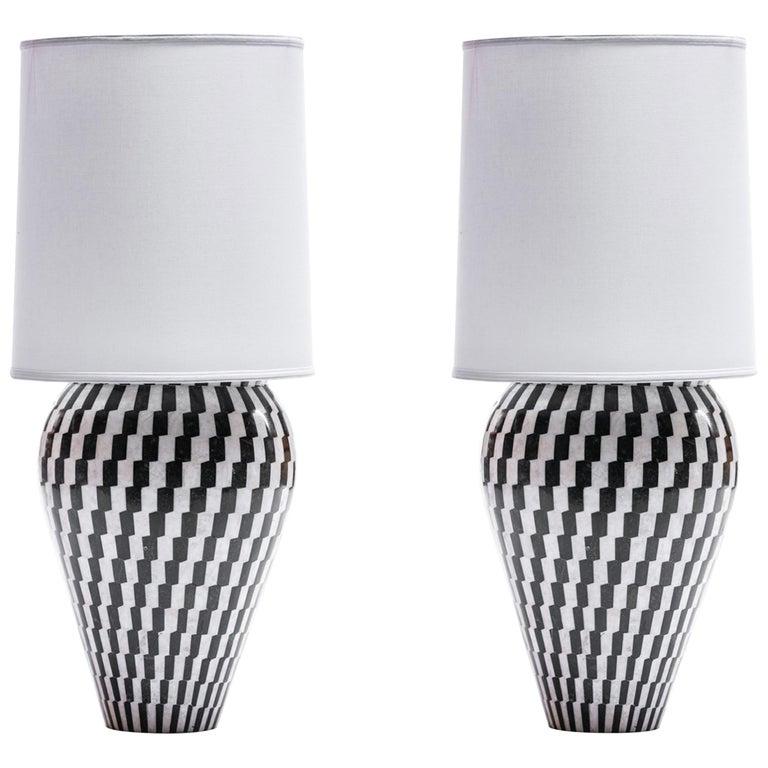 Pair of Monumental Custom Kelly Wearstler Lamps in Marble & Onyx For Sale