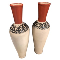 Pair of Monumental Decorative Moroccan Pottery Vase or Urn