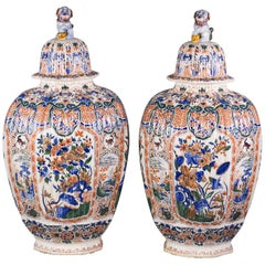 Pair of Monumental Delft Covered Temple Jars, circa 1880