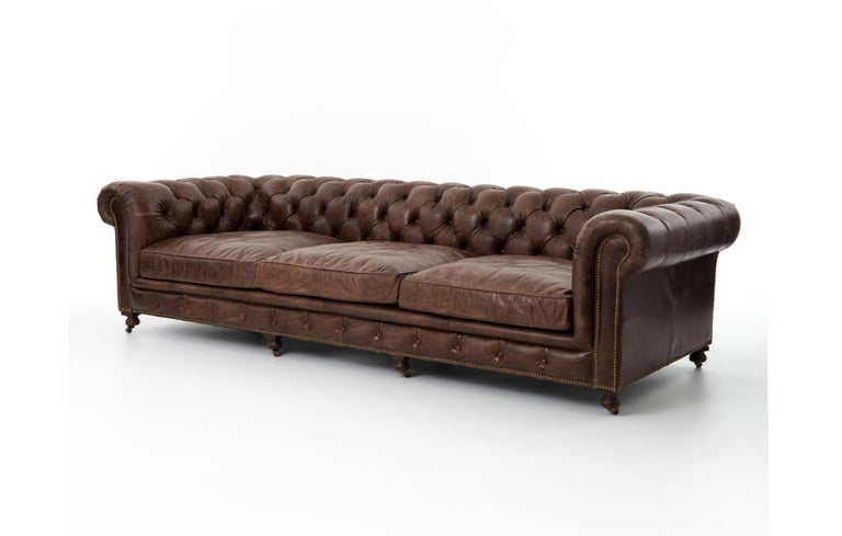 Pair of Monumental Distressed Leather Chesterfield Sofas. Priced Per Sofa. For Sale 1