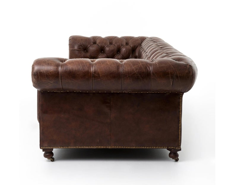 Pair of Monumental Distressed Leather Chesterfield Sofas. Priced Per Sofa. For Sale 3