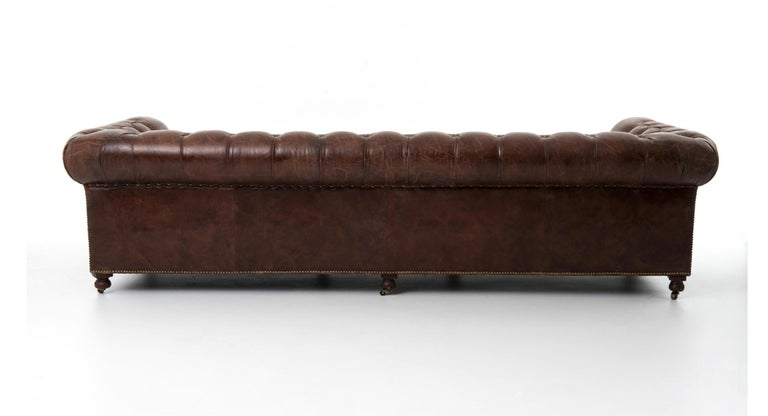 Pair of Monumental Distressed Leather Chesterfield Sofas. Priced Per Sofa. For Sale 4