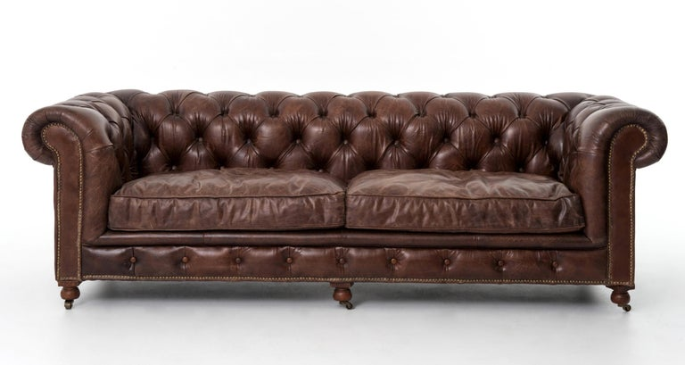 Pair of Monumental Distressed Leather Chesterfield Sofas. Priced Per Sofa. For Sale 9