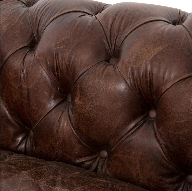 Pair of Monumental Distressed Leather Chesterfield Sofas. Priced Per Sofa. For Sale 10