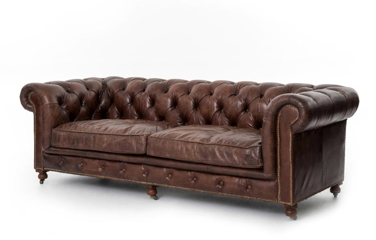 Pair of Monumental Distressed Leather Chesterfield Sofas. Priced Per Sofa. For Sale 11