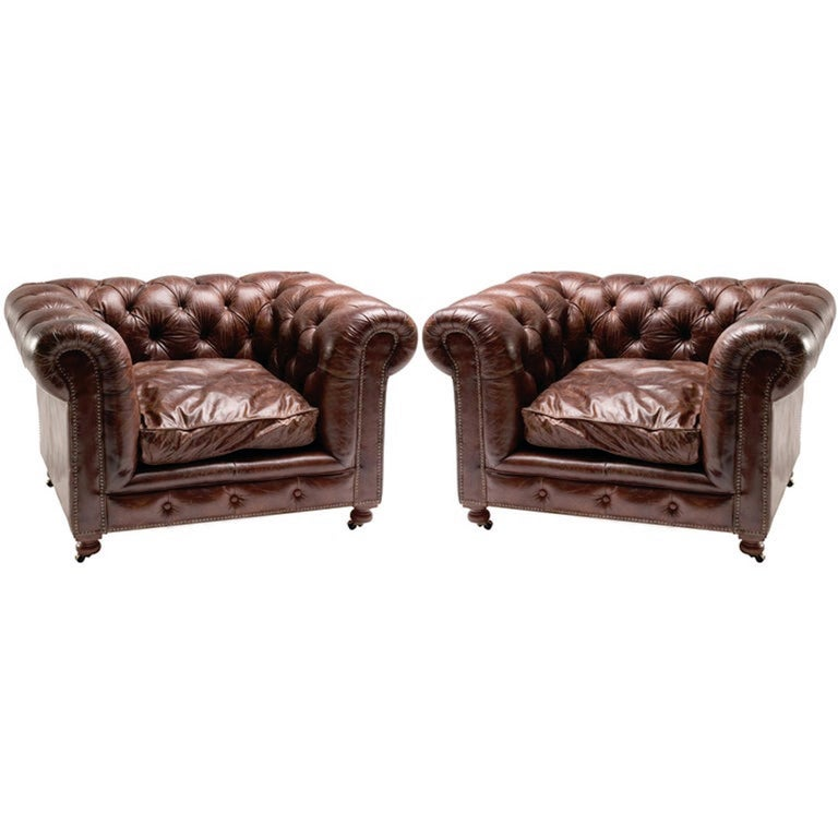 Pair of Monumental Distressed Leather Chesterfield Sofas. Priced Per Sofa. For Sale 15