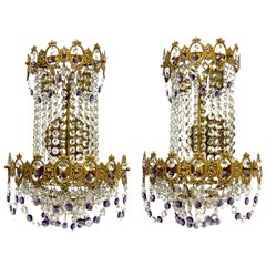 Pair of Monumental Empire Style Crystal and Bronze Sconces, Austria, 1930s