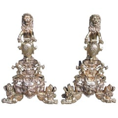 Pair of Monumental English Brass Medallion Lion Andirons with Paw Feet, C. 1820