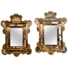 Pair of Monumental Etched Murano Glass Venetian Wall or Console Mirrors