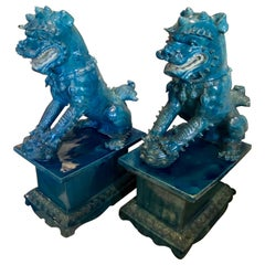 Pair of Monumental Foo Dogs on Stands