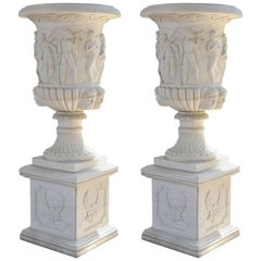 Pair of Monumental Garden Planters Made of Carved Carrara Marble