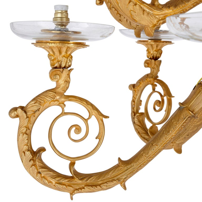 French Pair of Monumental Gilt Bronze and Glass Floor Standing Candelabra For Sale