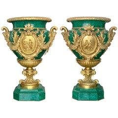 Pair of Monumental Gilt Bronze-Mounted Malachite Urns