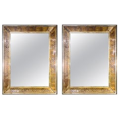 Pair of Monumental Hollywood Regency Style Etched Greek Key Wall Mirrors