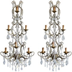 Pair of Monumental Italian Beaded Crystal Sconces in Antique Gold Frame, Italy