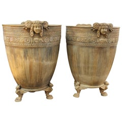 Pair of Monumental Italian Beaux-Arts Footed Planters