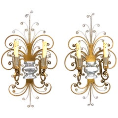 Pair monumental Italian Crystal Urn Motif Flower Wall Sconce by Banci Florence