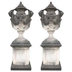Pair of Monumental Italian Limestone Vases 18th Century Style