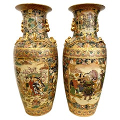 Pair of Monumental Japanese Satsuma Hand Painted Vases Urns