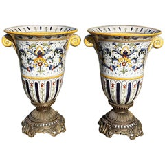Pair of Monumental Mounted Ceramic Painted Craquelure Mounted Urns, Signed