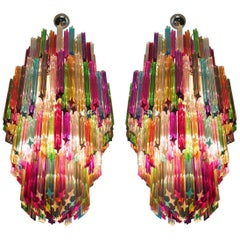 Pair of Monumental Multicolored Prism Chandeliers, Murano