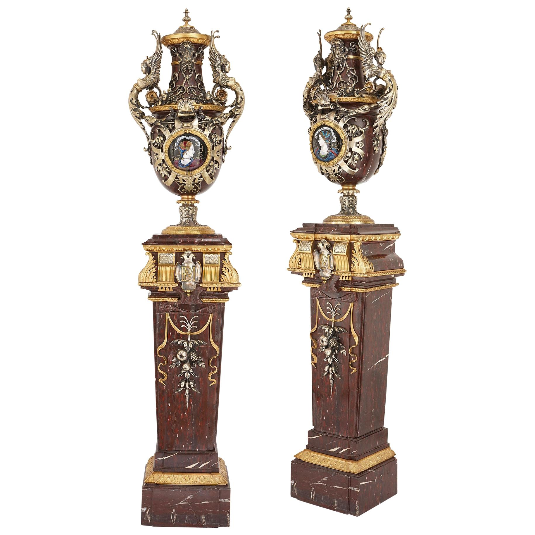 Pair of Monumental Napoleon III Period Vases by Barbedienne, Sévin, and Popelin