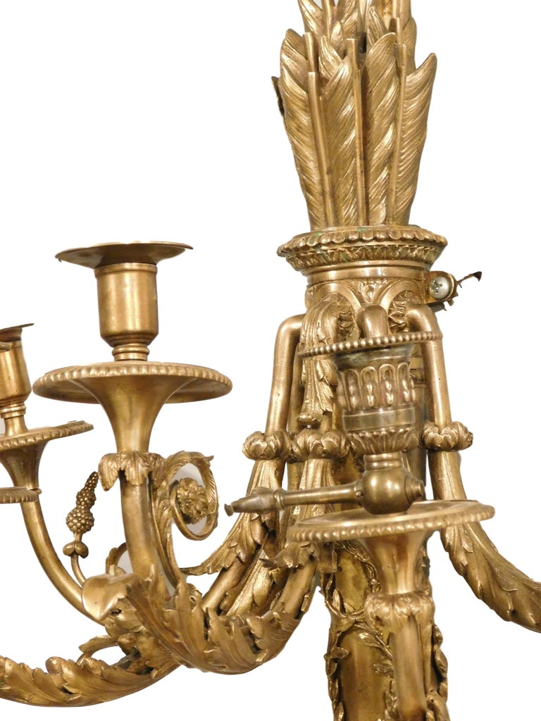Cast Monumental Pair of Neoclassical Style Bronze Candelabras, France, 1880 For Sale