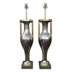 Pair of Monumental Neoclassical Style Silver and Gold Giltwood Urn Form Lamps