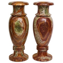 Pair of Monumental Onyx Urns
