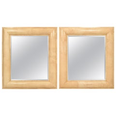 Pair of Monumental Parchment Mirrors by Karl Springer, circa 1975