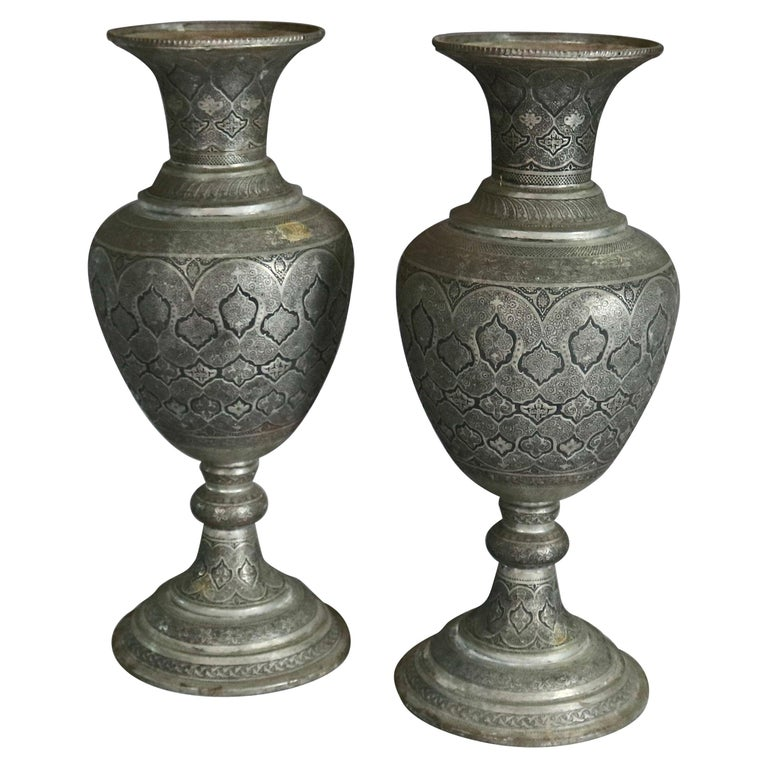 Pair of Monumental Persian Hand-Hammered Nickel-Plated Floor Urns, 19th Century For Sale