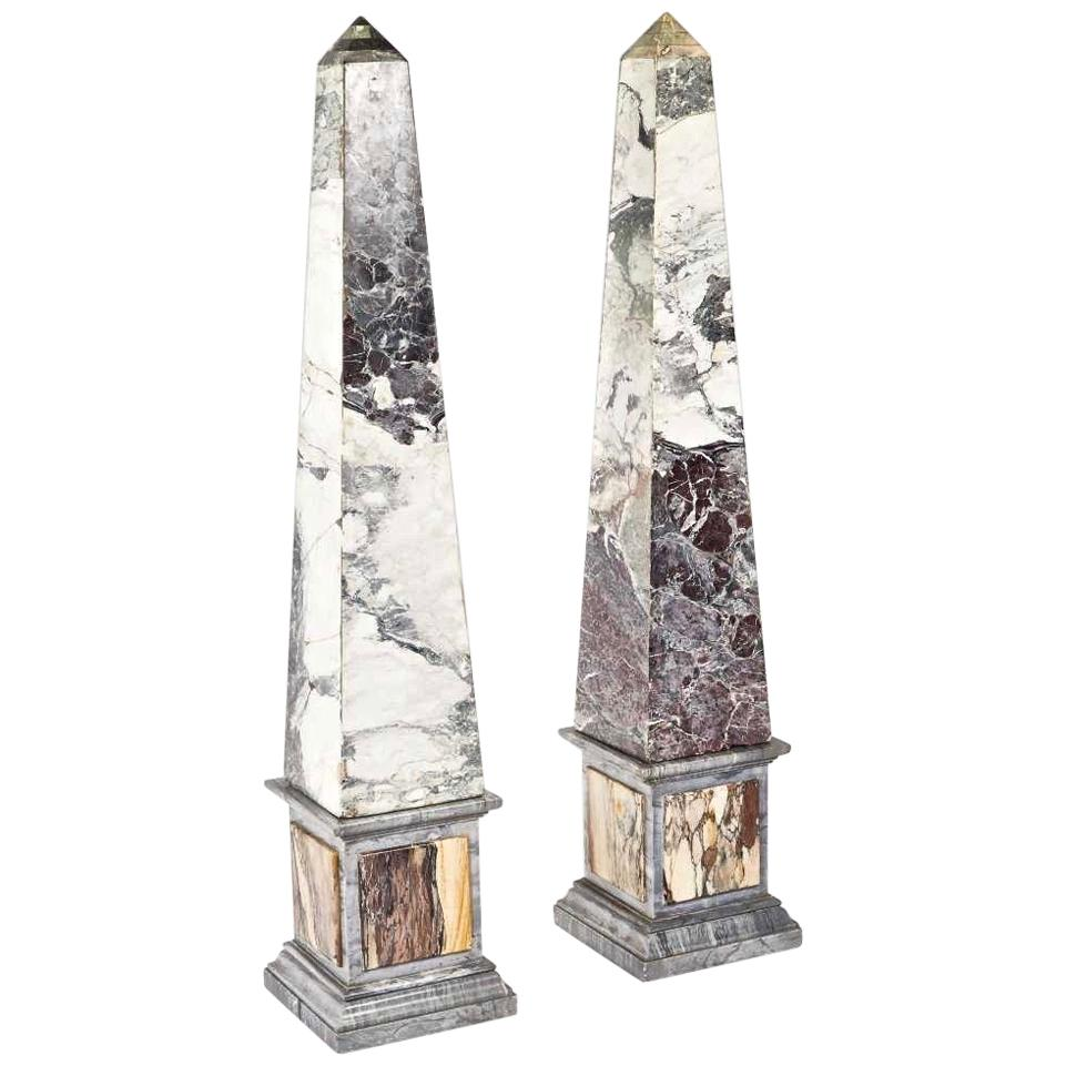 Pair of Monumental Pietra Dura Grand Tour Marble Obelisks, 19th Century
