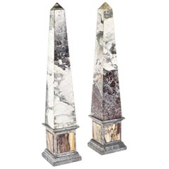 Pair of Monumental Pietra Dura Grand Tour Marble Obelisks, 19th Century
