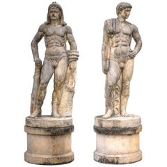 Pair of Monumental Rationalist Marble Sculptures of Hercules and Discobolo