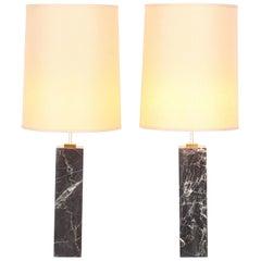 Pair of Monumental Robsjohn Gibbings Style Black Marble Lamps, 1960s