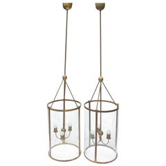 Pair of Monumental Size Brass and Glass Art Deco Chandeliers Vintage, German