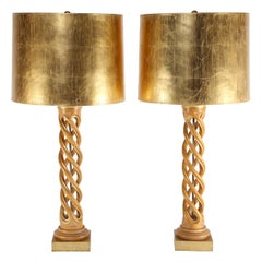 Pair of Monumental Table Lamps in Bleached Mahogany with Gilt Shades, 1950s