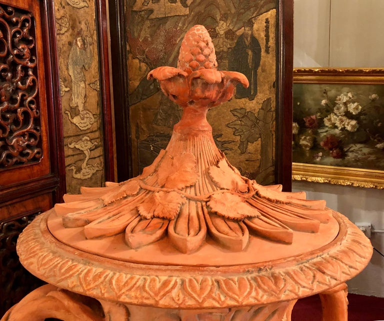 Pair of Monumental Terracotta Three-Piece Lidded Urns In Good Condition For Sale In Stamford, CT